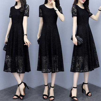 合适胖女人穿的气质显瘦蕾丝长裙夏装新款大码女装蕾丝连衣裙胖mm
