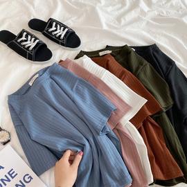 网红条纹坑条短袖t恤女ins超火韩版宽松泫雅风纯色短款针织衫上衣