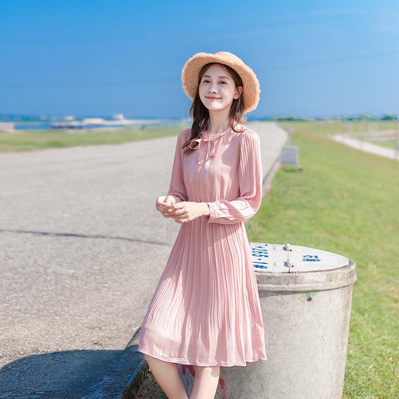 2021春季新款粉色长袖雪纺修身裙子