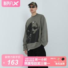 【2GUNS官方网店】潮牌人像印花复古卫衣灰色宽松圆领长袖外套男