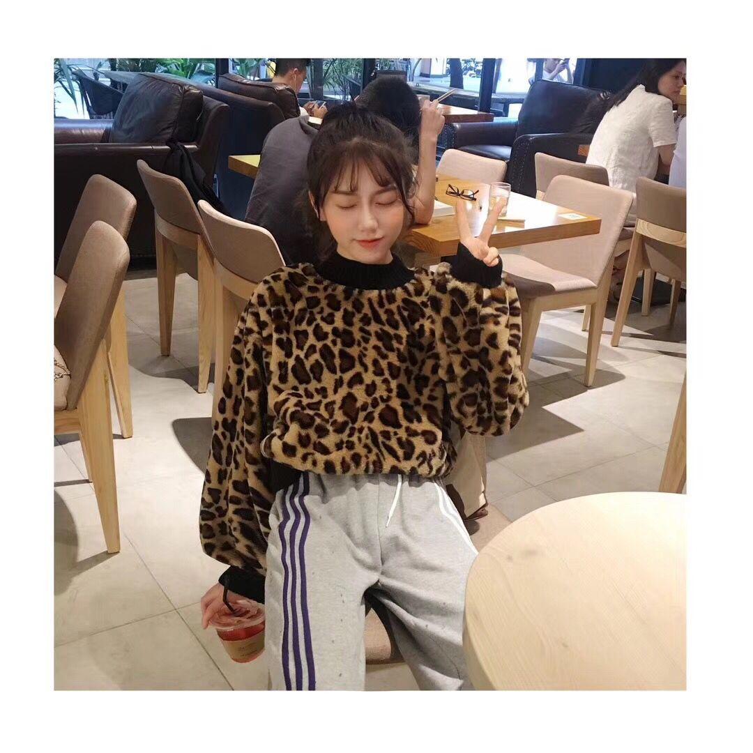 韩版2018新款百搭宽松豹纹套头上衣学生长袖衣服早秋卫衣女潮欧美