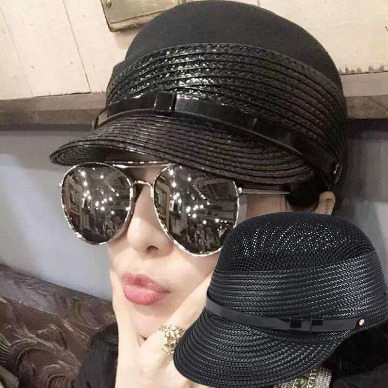 (用5元券)拼接草帽韩国韩版帅气骑士帽鸭舌帽