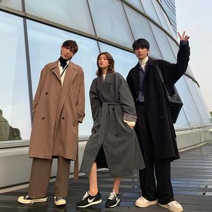 Hualun冬季风衣男长款帅气过膝中长款毛呢大衣灰色西装外套韩版潮
