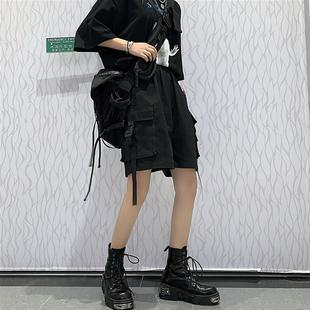 褲子女夏季韓版ins復古黑色工裝褲短褲寬鬆高腰休閒褲直筒闊腿褲