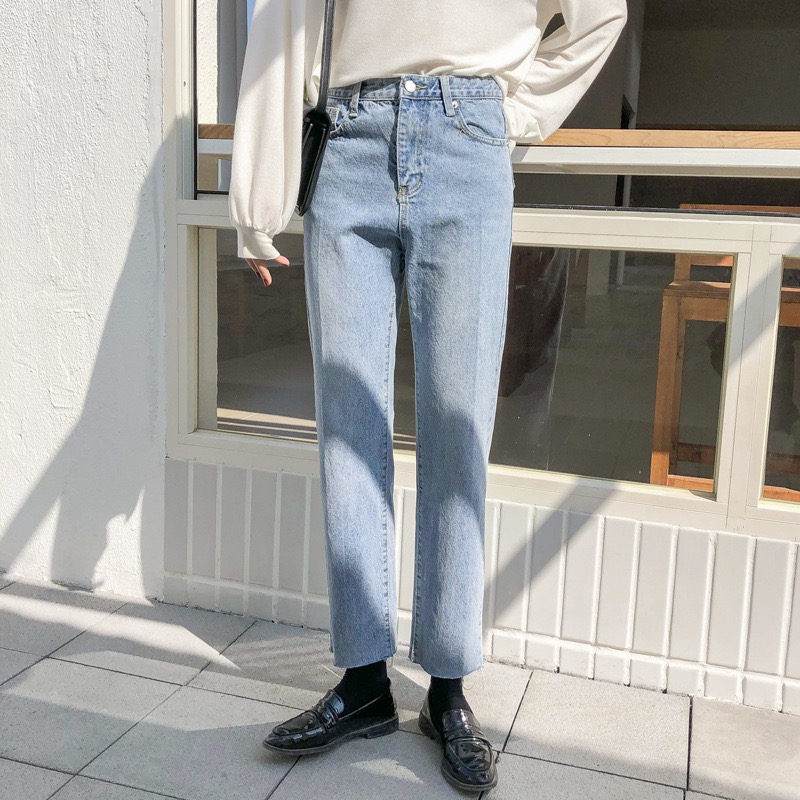 Washed blue wide leg jeans womens small high waist straight pants