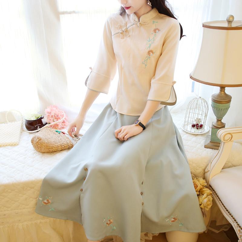 民国风复古改良汉服女唐装茶服中式旗袍伴娘中国风学生套装春夏款