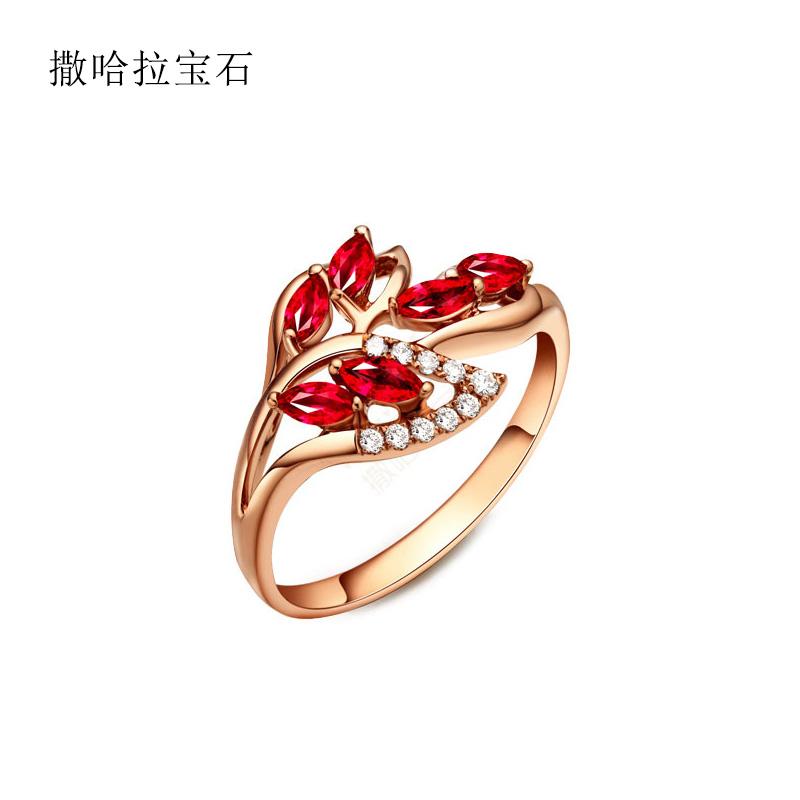Sahara gem pigeon blood ruby ring womens 18K Rose Gold Group diamond ring