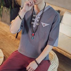 7021-P40夏季新款男装中国风亚麻五分短袖拼色棉麻T恤QT715 深灰