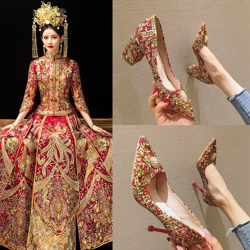 新娘秀禾鞋中式婚鞋女2020新款春季红色敬酒高跟鞋绣花结婚鞋子潮