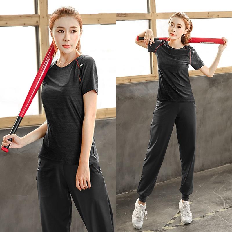 大码瑜伽服女跑步健身房夏季速干衣服胖mm200斤晨跑宽松运动套装