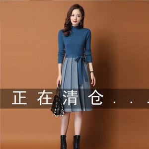 针织连衣裙女2021秋冬新款配大衣的中长款过膝针织打底加厚毛衣裙