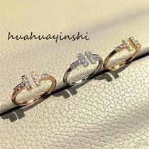 小众轻奢s925纯银双T镶钻开口戒指女百搭叠戴气质指环18K玫瑰金