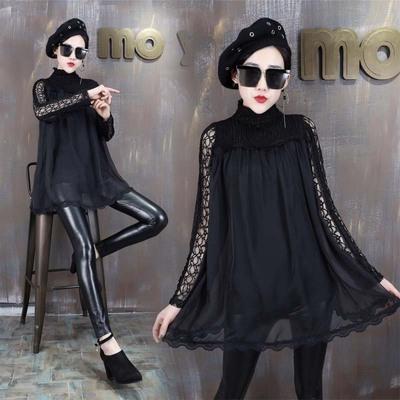 蕾丝镂空打底衫上衣女韩版四季新款装宽松显瘦长袖高领雪纺百搭潮