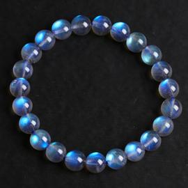 冰种灰月光拉长石手链手串全蓝光彩光月光石一物一图水晶饰品礼物图片