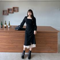 大面菁赫本风气质女神范小黑裙秋装2020年新款大码胖mm长袖连衣裙