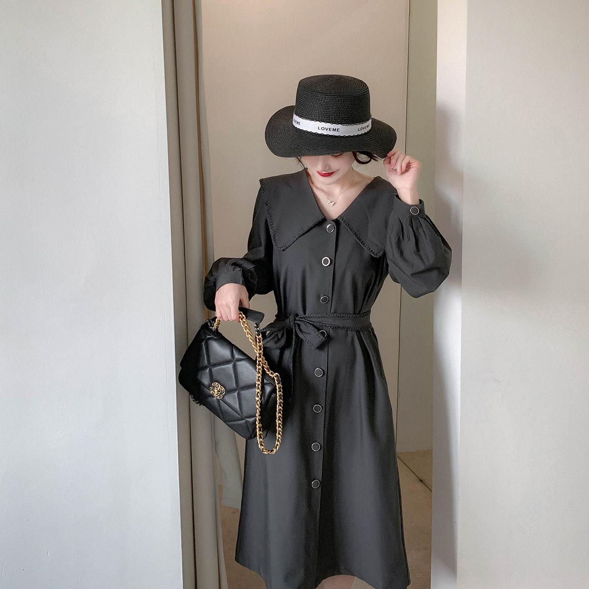 胡月明定制 赫本裙 气质翻领长裙女2020秋季新款显瘦黑色连衣裙图片