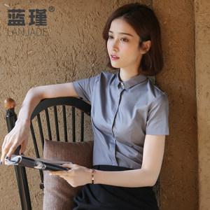 女短袖夏2019新款韩版职业棉白衬衣