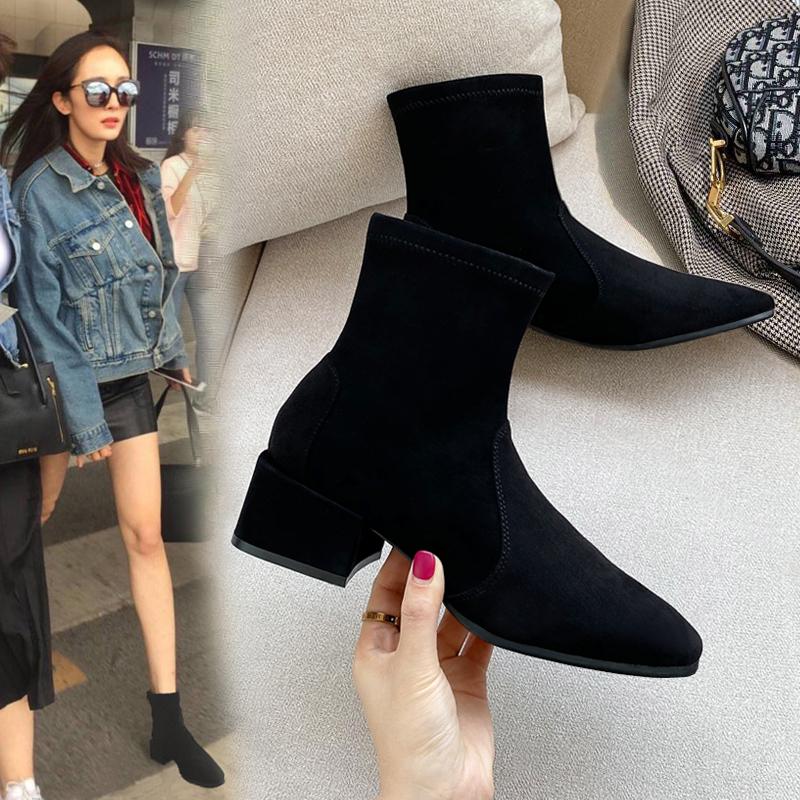 Spring autumn winter high heeled womens shoes elastic thin medium heeled boots