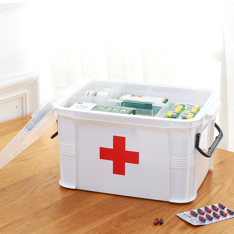 學生宿舍小號藥箱家用急救箱多層醫藥箱藥品整理儲物箱塑料收納箱