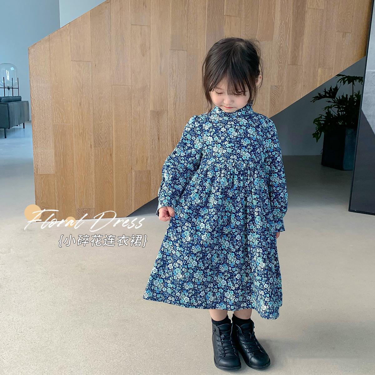 蓝小爸童装儿童纯棉碎花裙子2020新款洋气宝宝秋装韩版女童连衣裙