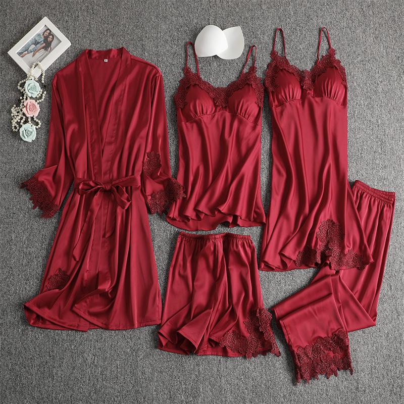 结婚睡衣女夏季套装冰丝吊带性感睡裙春秋大码新婚睡袍新娘晨袍红