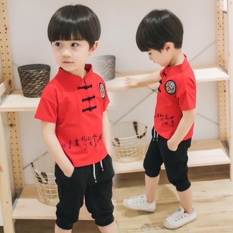 童装男童2夏装套装3-4岁男宝唐装复古装汉服5儿童棉麻衣服6岁潮装