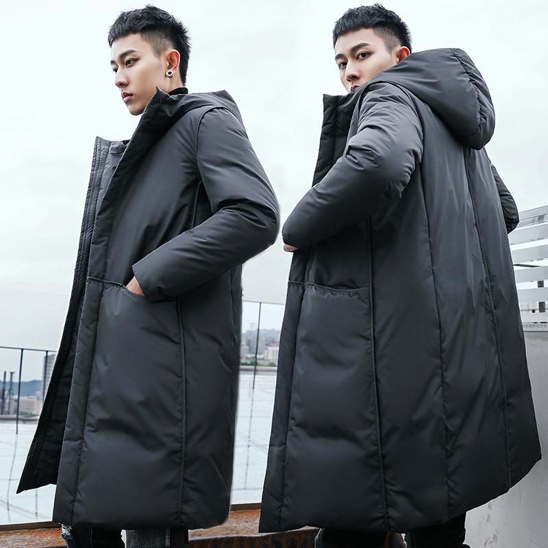 雪驰男士羽绒服男中长款过膝大衣2018冬装韩版加厚修身青年潮外套