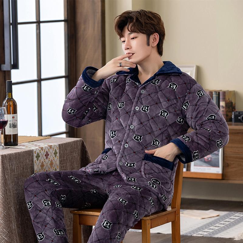 男士睡衣冬季珊瑚绒加厚加绒青年三层夹棉袄秋冬款保暖卡通家居服