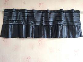 外贸出口原单欧式深蓝色条纹遮光成品帘头窗帘咖啡帘小挂帘