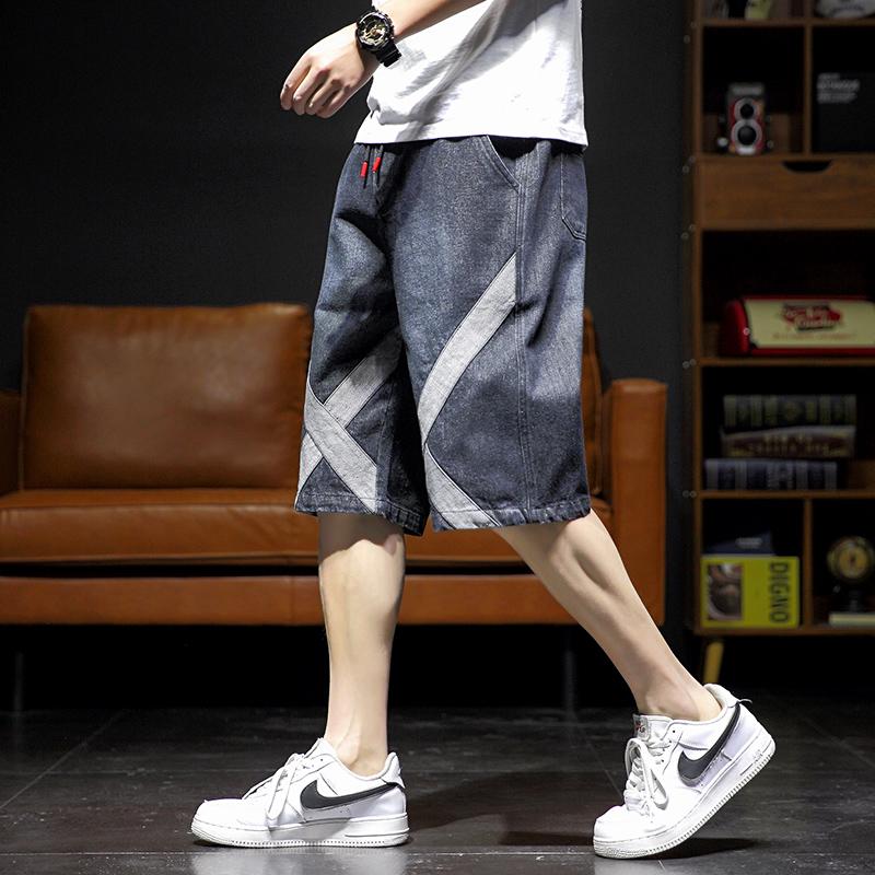 青少年五分牛仔裤男阔腿宽松直筒短裤六分初中高中学生大童夏裤薄