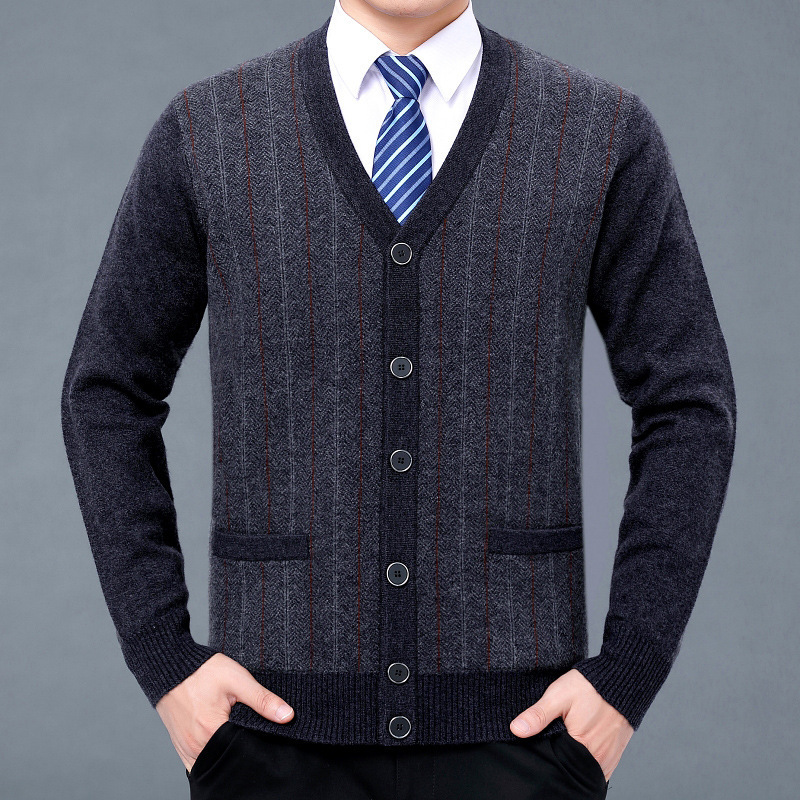 2020 autumn and winter mens pure cashmere sweater middle-aged and old mens V-Neck Sweater dads bottom knitted cardigan