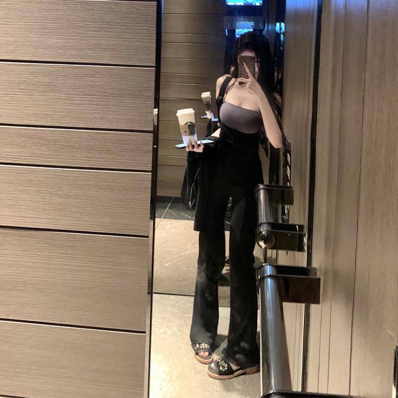 韩雨嘉黑色背带裤女夏季高腰垂感显瘦...