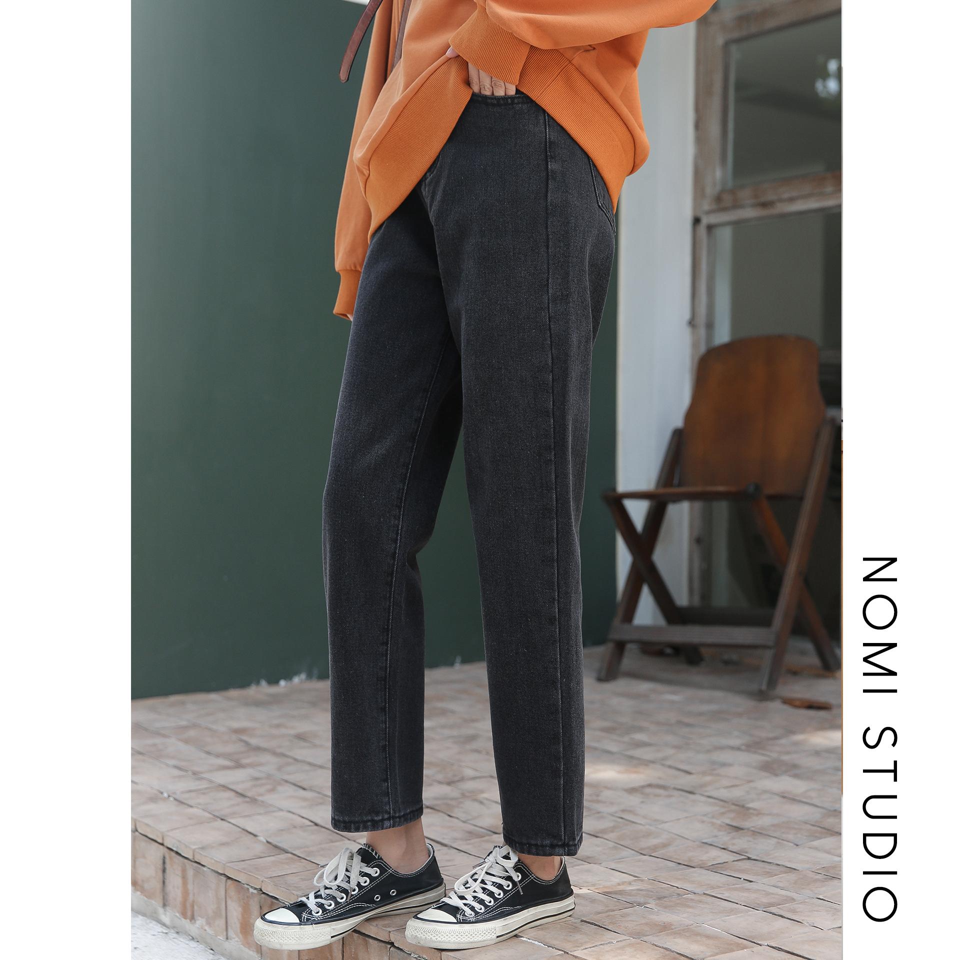 遥远的歌/复古高腰牛仔裤女直筒宽松裤显瘦黑色裤子小个子秋冬新(用1元券)