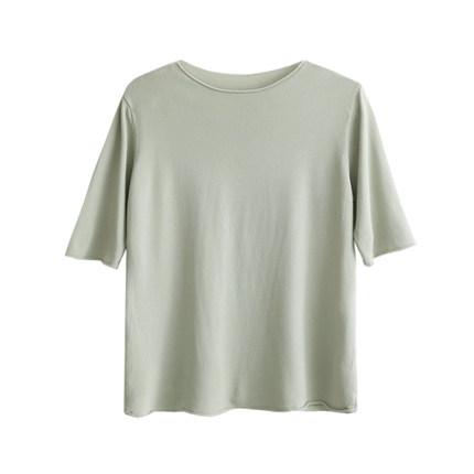 桃茶/复古冰丝打底短袖女纯色薄荷