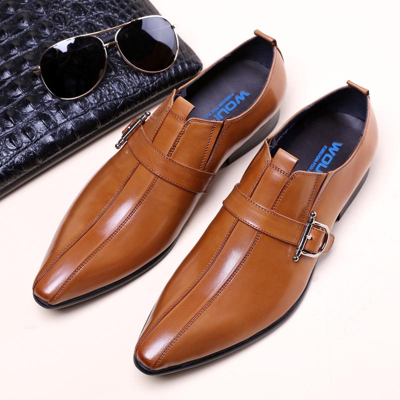 冬季意大利男士正装皮鞋 英伦牛皮套脚马衔扣商务男鞋牛津鞋真皮