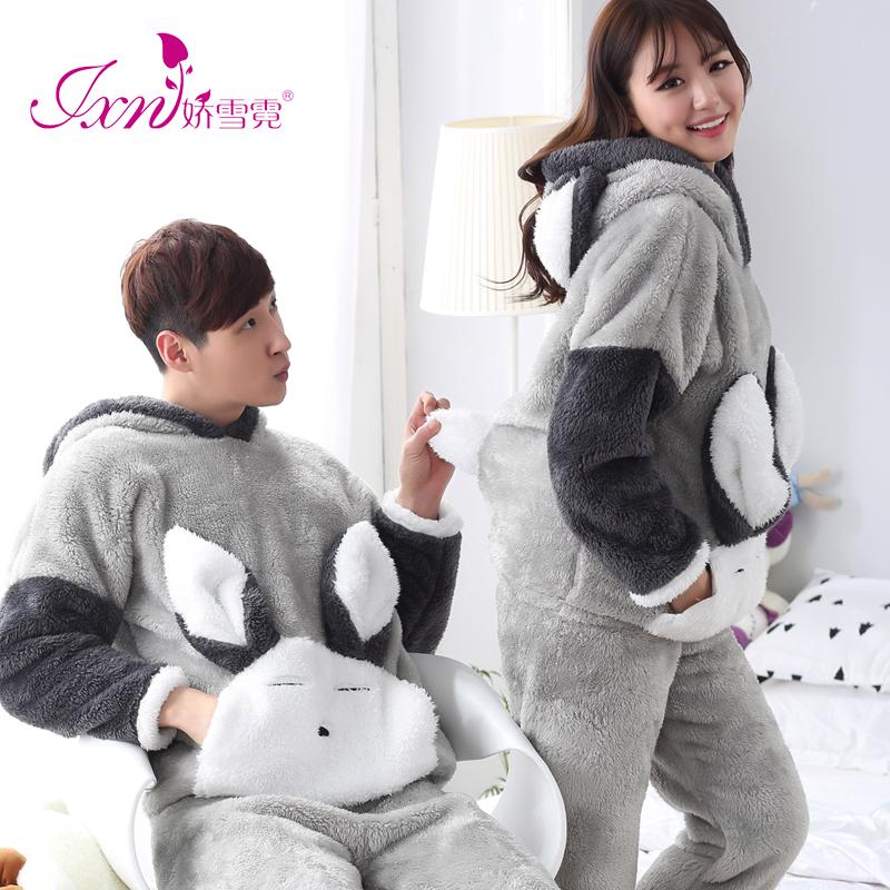 Осенью и зимой коралл любители пижама женщина с длинными рукавами утолщённый может любовь мультики корейский фланель мужчина домой костюм