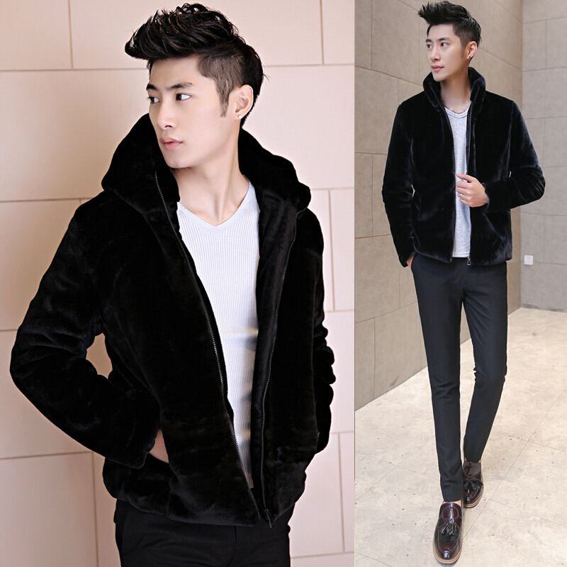 Kwai wool cotton coat, thickened coat, quick hand, same coat, coat, pure color, hat and fur jacket.