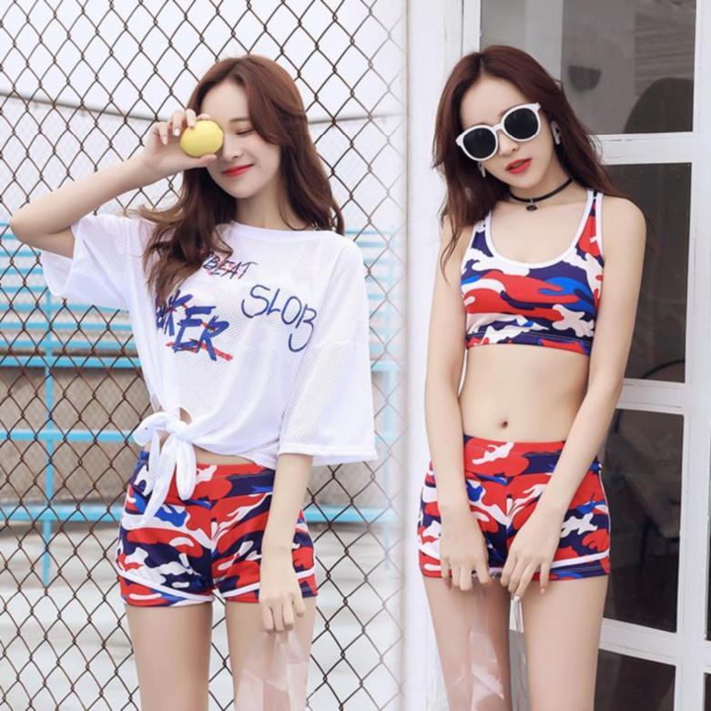 大红色青少年度假风运动女分体泳衣
