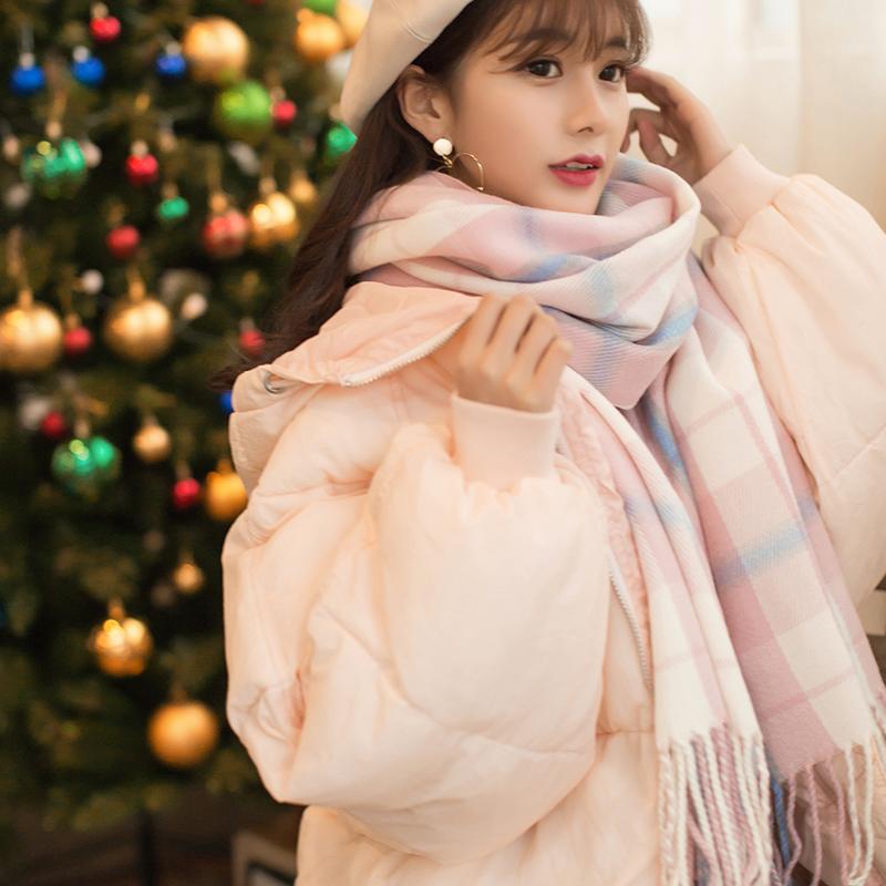 格子围巾女秋冬季韩版百搭学生可爱软妹ins心少女士圣诞风围脖男