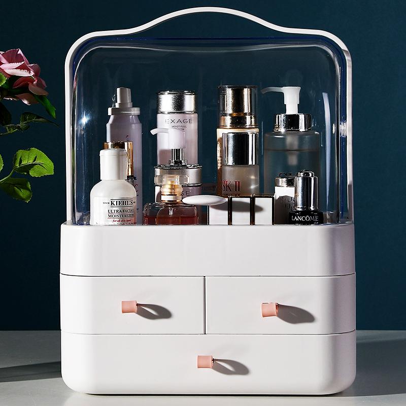 网红化妆品收纳盒抽屉式透明防尘带盖桌面整理梳妆台护肤品置物架