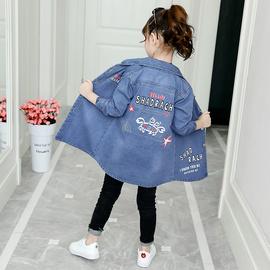 女童牛仔风衣外套中长款春装2020新款儿童洋气韩版中大童印花上衣