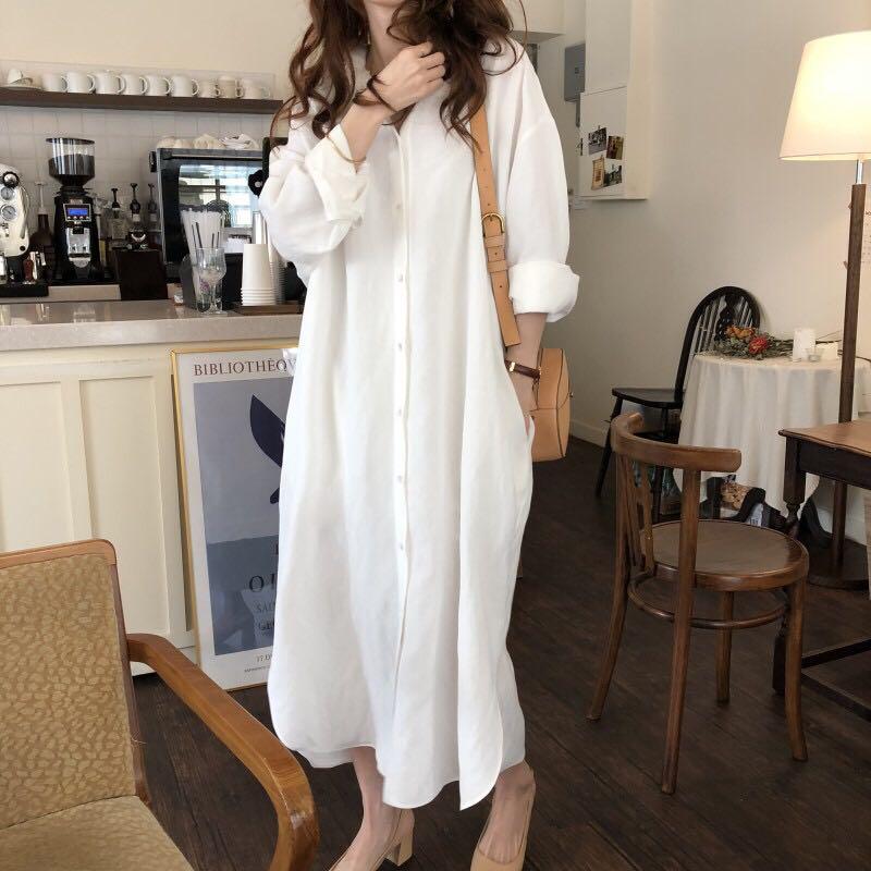 2018广州女装秋装新款清纯单排纽扣长袖大码宽松衬衫裙