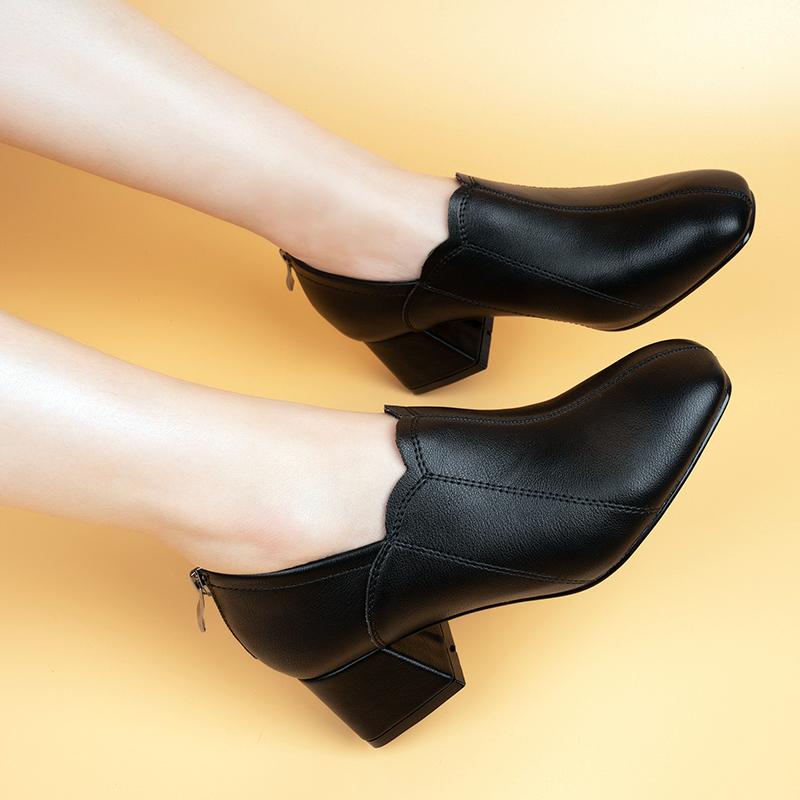 粗跟单鞋女2020春秋季新款方头深口中跟高跟妈妈女士软底舒适加绒