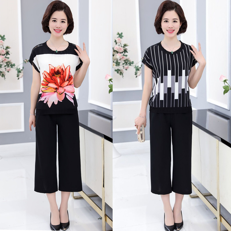 Mothers pants summer suit clothes worn by 30-40-year-old women mothers Day Mothers summer Chiffon Shirt Short Sleeve