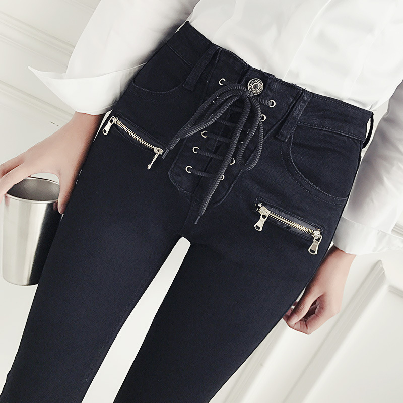 Front middle Double Zip pants womens pants bow tie high waist black design sense small denim pencil pants