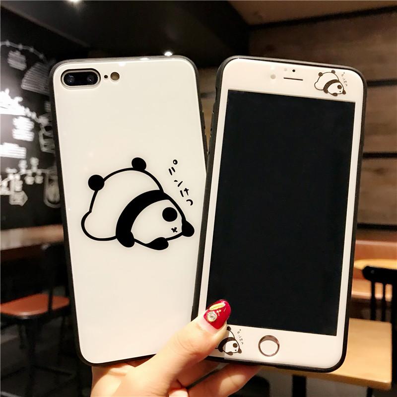 日韩熊猫苹果8p可爱钢化膜iPhone6s全屏前后7plus卡通彩膜X手机壳