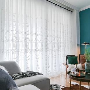 北欧风格纱帘白色窗纱简约绣花客厅窗帘高档大气欧式刺绣成品卧室图片