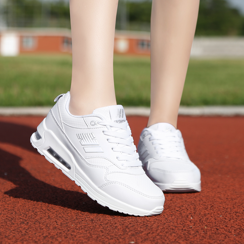 Spring strength womens shoes sports shoes leather waterproof air cushion running shoes white student casual shoes versatile small white shoes