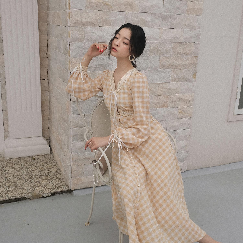 五折促销dearnana格子连衣裙春赫本仙女裙子