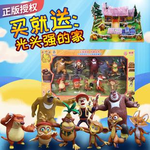 正品授權熊出沒熊大熊二光頭強熊熊公仔動物玩偶靜態兒童玩具套裝